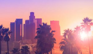sunset at Downtown Los Angeles