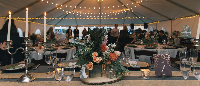 Wedding setup inside a tent