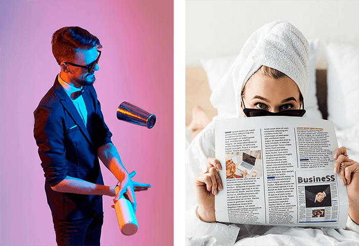 Side by side images of bartender juggling and woman with newspaper
