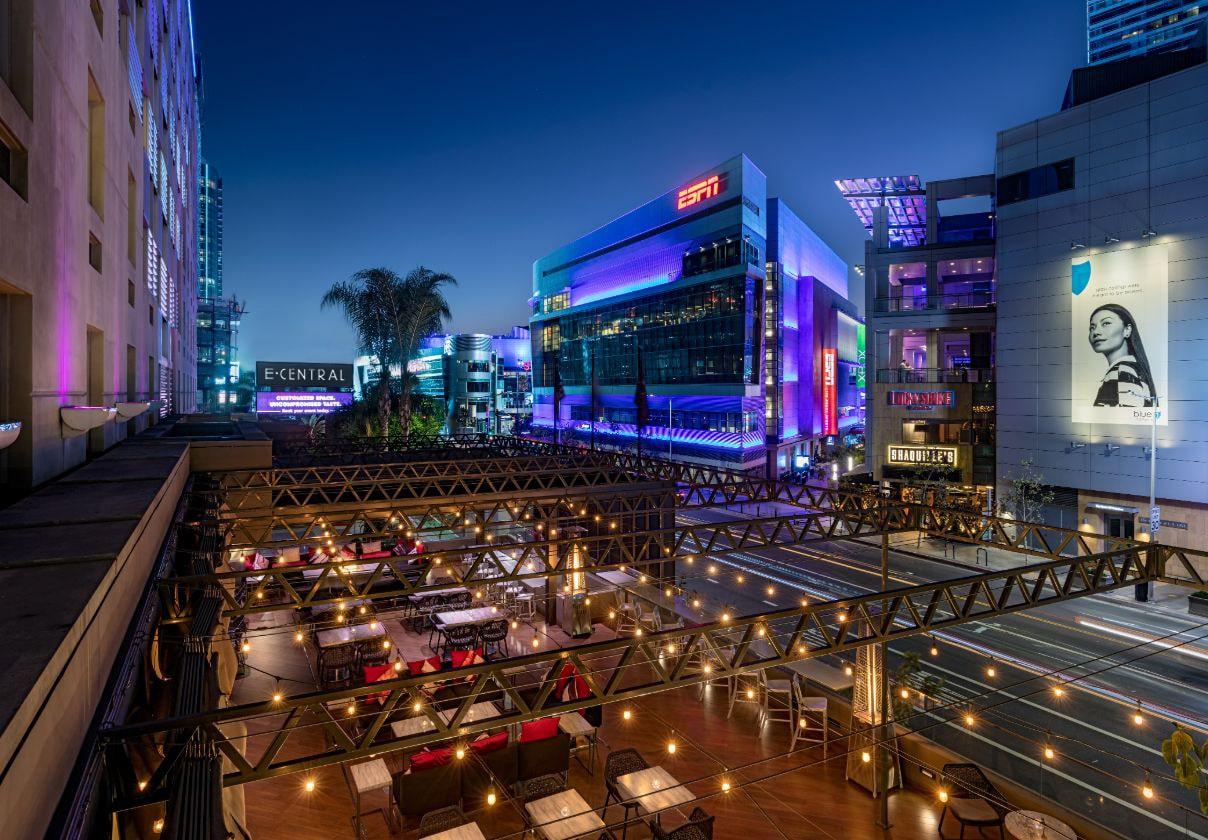 View of Nixo patio lounge and LA Live